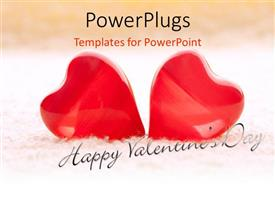 Colorful PPT layouts having valentine depiction with two large red colored heart shapes on towel