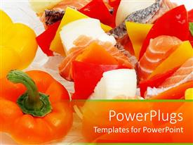 PPT theme featuring variety of leafy and ripe vegetables and fruits