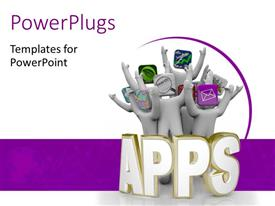 PPT layouts enhanced with various apps with white and purple background and place for text