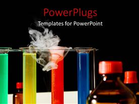 Amazing presentation theme consisting of various chemicals of different colors with blackish background