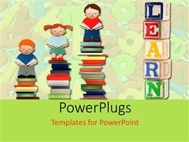 5000 children reading powerpoint templates w children reading theme consisting of various children standing on books with alphabets in the background toneelgroepblik Images