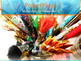 Audience pleasing presentation design featuring various colored and size paint brushes with colorful painting on brushes in jar