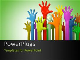Beautiful PPT layouts with various colors of hands reaching up on green background