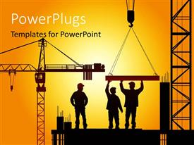 Elegant presentation theme enhanced with various construction worker during work time