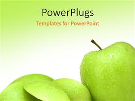 Presentation having various green apples with greenish background and place for text