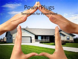 Colorful PPT layouts having various hands representing the shape of the house with clouds in the background