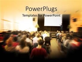 PPT theme enhanced with various people attending a seminar with blurr background