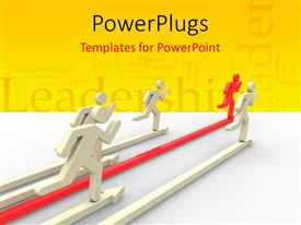 PPT theme enhanced with various people in a race with yellowish background