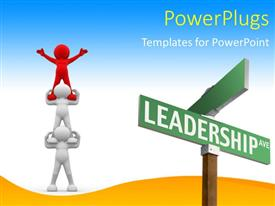 PPT theme enhanced with various signs with three people doing team work