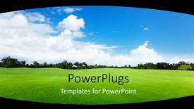 Amazing PPT layouts consisting of vast sunny landscape on natural green grass with trees