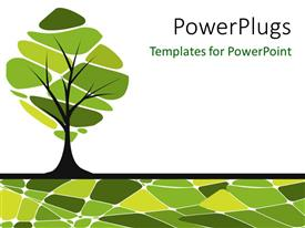 Presentation enhanced with vector card design with stylized trees
