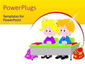 PPT layouts with vector drawing of an elementary school students sitting at a desk in a class