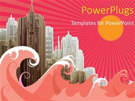 Elegant slide set enhanced with vector illustration of a city with buildings and sea waves with sun and rays