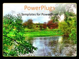Elegant presentation theme enhanced with view of a forest with lots of trees and a river