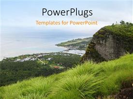 Amazing PPT layouts consisting of the view of the sea from the top of a mountain