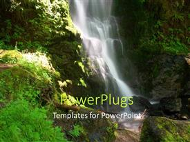 PPT layouts featuring view of Waterfall with water splashing on rock surface