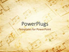 Audience pleasing presentation theme featuring vintage paper background depicting music sheet with musical notes