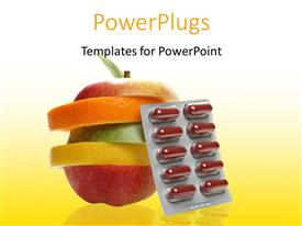 5000 vitamin powerpoint templates w vitamin themed backgrounds presentation theme with sachet of pills with natural sliced fruits on yellow surface toneelgroepblik Gallery