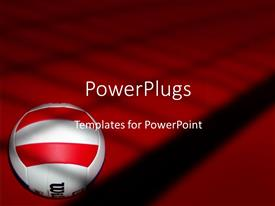 PPT theme featuring volleyball on red and black background, white with red and black volleyball ball
