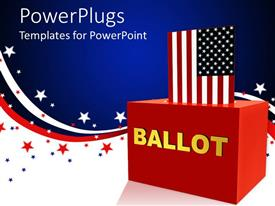 Presentation design enhanced with vote theme American flag inserting into a red 3D block for voting with american flag symbol background
