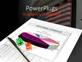 Amazing PPT layouts consisting of wall Street in background with colored dice and pen on investment strategy