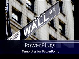 Slide deck featuring wall Street economics on stock market in a big city