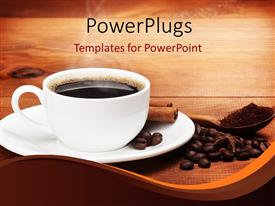 PPT theme with warm cup of coffee with beans on a wooden background