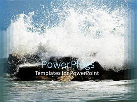 Presentation theme featuring the waves hitting the stones creating a splash