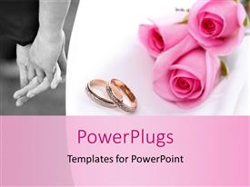 PPT layouts featuring wedding concept with bride and groom holding hands with rings and roses