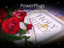Amazing presentation consisting of wedding depiction with roses, necklace and wedding ring on Holy Bible