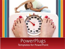 Amazing PPT layouts consisting of weight loss metaphor with feet on scale with woman exercising, fitness, exercise, dieting
