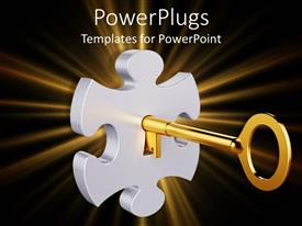 Presentation theme consisting of whit puzzle piece with a golden key inside it