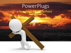 Colorful PPT theme having a white 3D character carrying a large brown cross