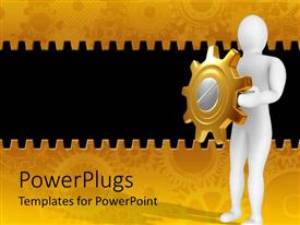 Beautiful PPT theme with white 3D figure holding golden and silver gear in hands as a shield on mechanical gear golden and black background