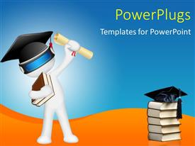 Amazing PPT theme consisting of white 3D man with graduation cap and cap on book pile