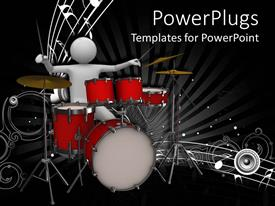 Elegant PPT theme enhanced with white 3D man playing drums, white music notes, speaker, musical, musician