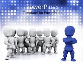 PPT theme having white and blue animation of lots of human figures
