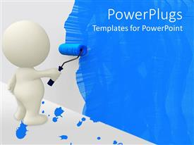 Amazing presentation theme consisting of white cartoon man painting wall blue with roller