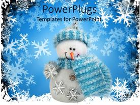 PPT theme featuring white Christmas snow man wearing blue scarf and cap