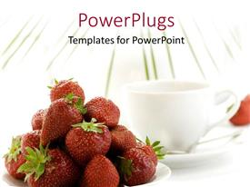 PPT layouts featuring white coffee cup and saucer with dish of strawberry