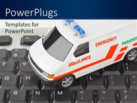 Presentation theme featuring white colored emergency ambulance on computer keyboard