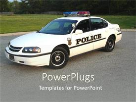 Colorful PPT layouts having white colored police car with lights on a road