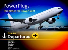 Colorful slide set having white commercial airplane takes off from airport with departure information
