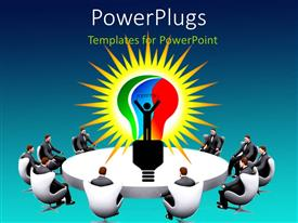 Colorful presentation design having white conference table with business men seated round and light bulb in center