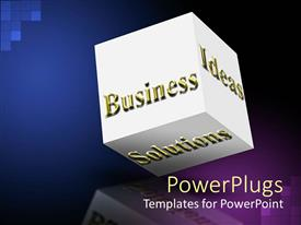 PPT theme having white cub with gold Business, Ideas and Solutions text