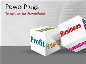 Colorful PPT layouts having white cubes with finance and business related terms on grey background
