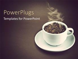 Elegant PPT theme enhanced with a white cup filled with coffee seeds and steam from it