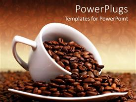 PPT theme featuring a white cup overloaded with roasted coffee beans