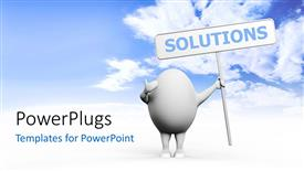 Beautiful PPT theme with white egg with arms and legs holding solution sign