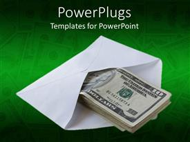 Colorful PPT layouts having white envelope with bundle of dollar bills on a green background